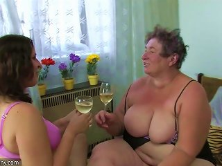 Oldnanny Old Fat Granny And Fat Teen Is Enjoying With Dildo And Young Guy