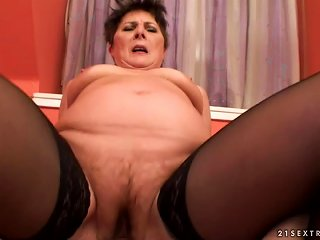 Lewd Granny Margo T. Sucks A Dick And Gets Fucked In  Position